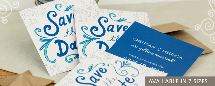 Press Printed Save the Date Wedding Invitations Multiple Sizes Shapes