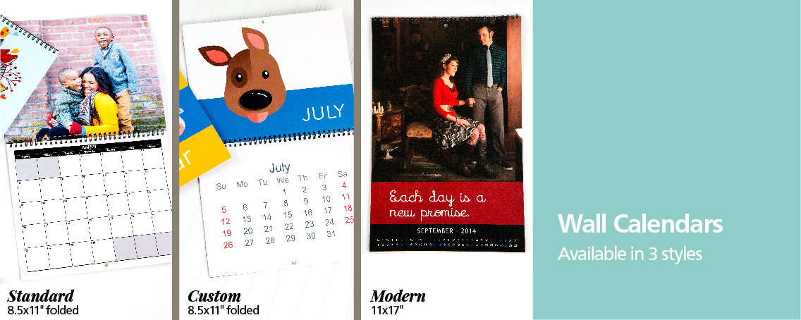 2 Styles Custom Modern Press Printed Wire Bound Photo Wall Calendars!