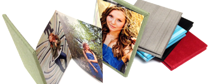 Multiple Image Pocket-Sized Accordion Memory Books Photo Silk Fabric Faux Leather Cover