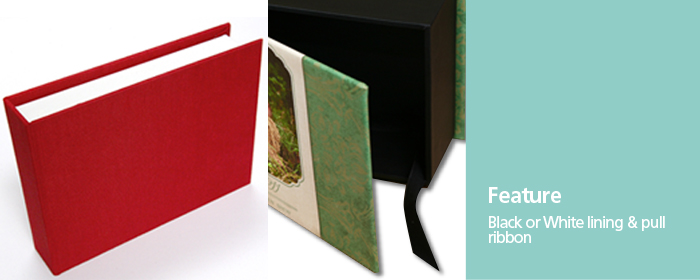 Hand Crafted Photo Album Boxes Black White Lining Matching Pull Ribbon