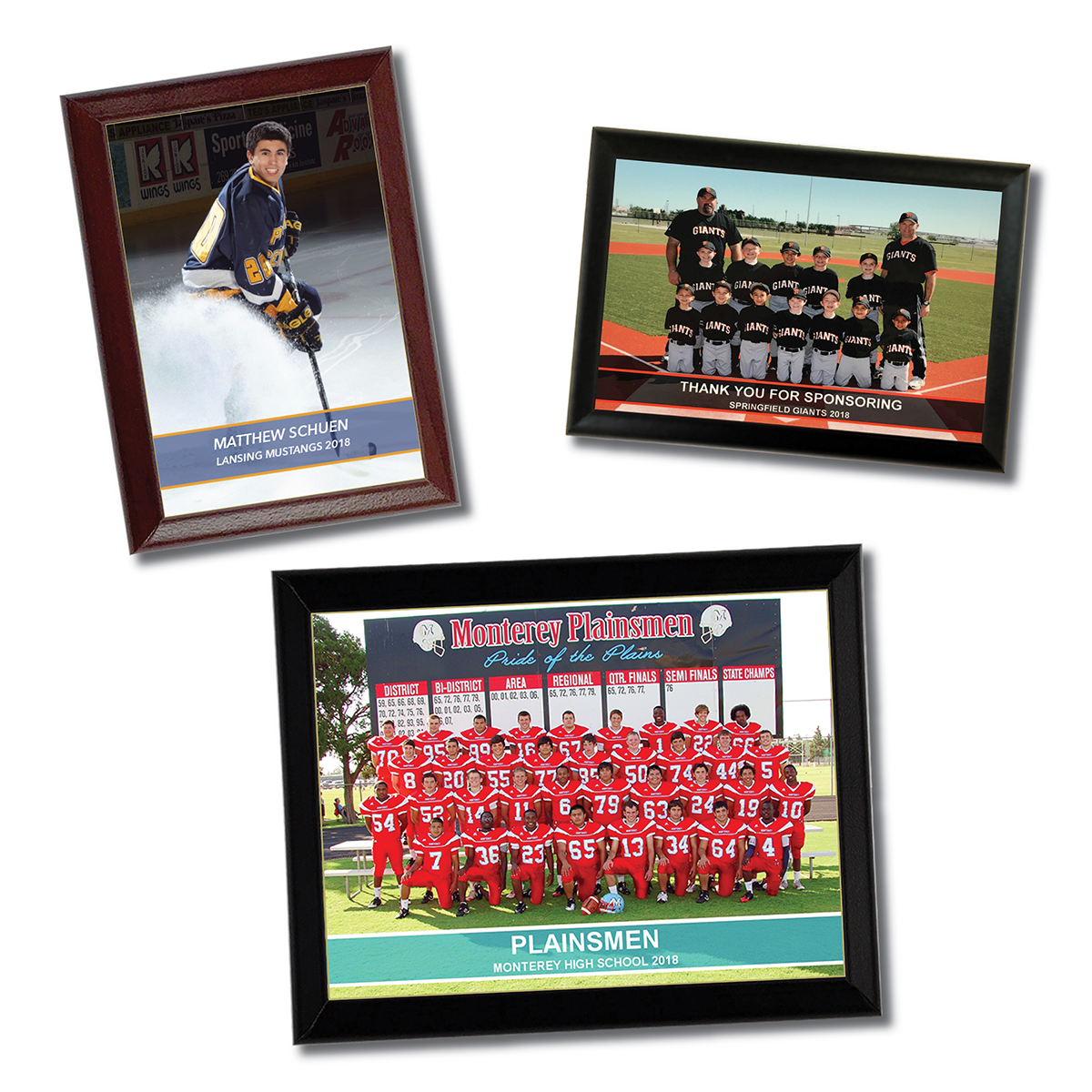 Plaques that show the use of banners and overlays on team and individual photos