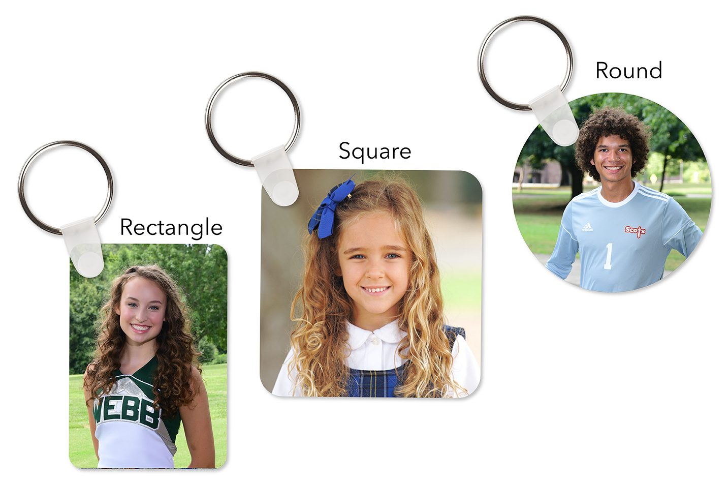 A photo of the 3 different key chain shapes.