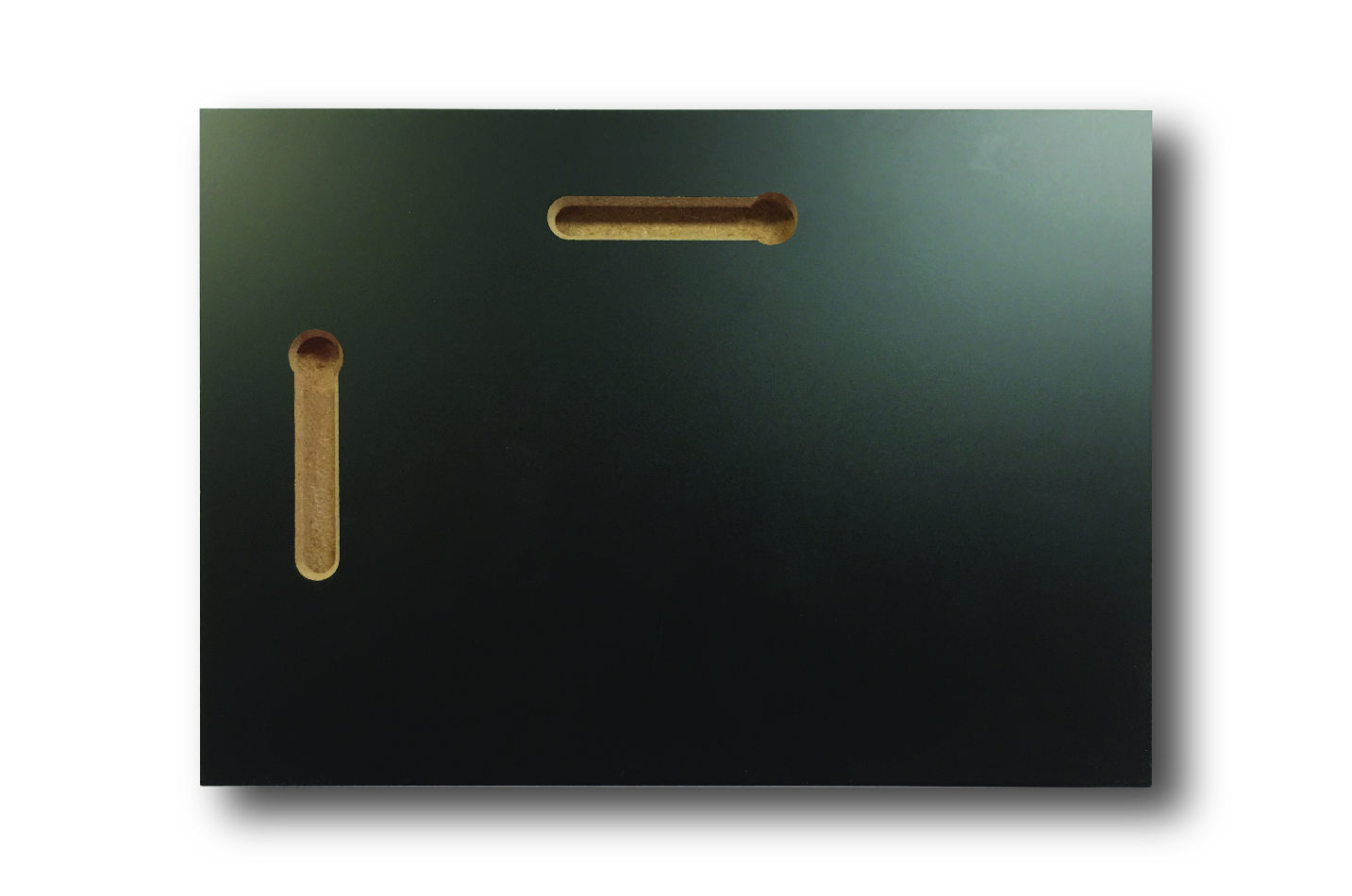 The back of a plaque showing the two keyholes for wall mounting.