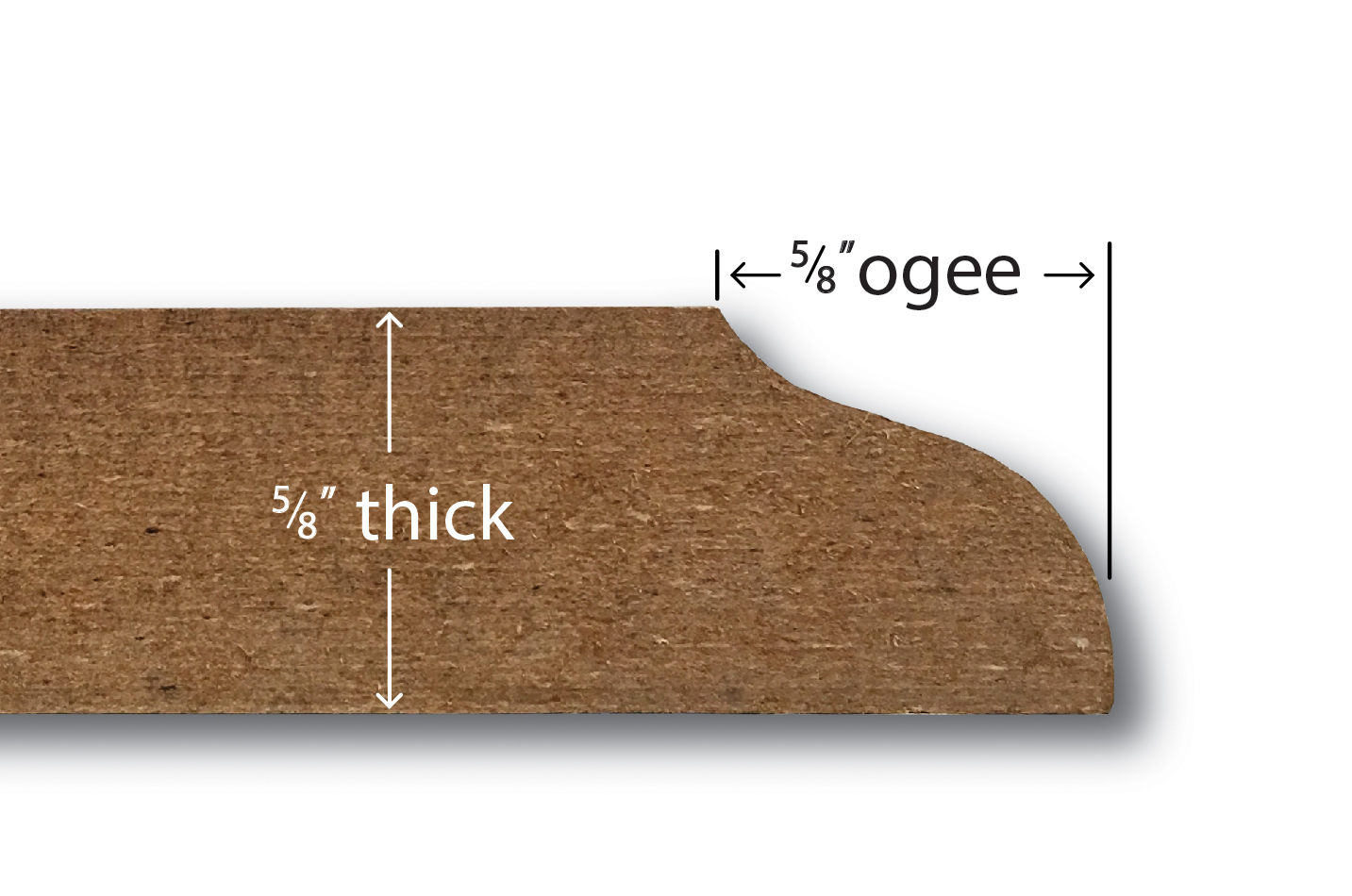 A cross section of an MDF plaque showing the ogee depth, thickness and material detail.