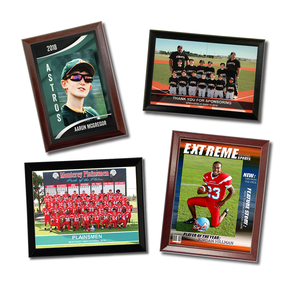 Sports plaques in pro desktop, magazine cover and banner overlays