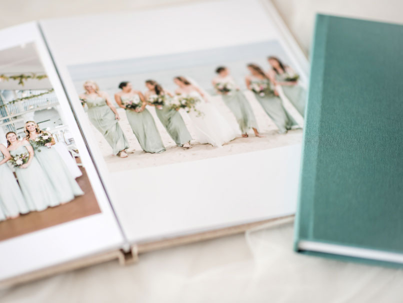 Wedding Album Laying Flat with Oatmeal Fabric Cover