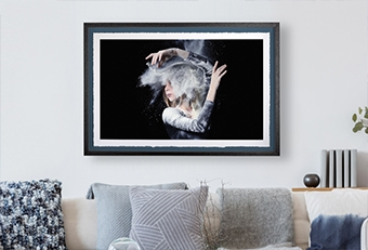 Dancer throwing chalk in the air while dancing on Framed Deckled Edge Fine Art Print