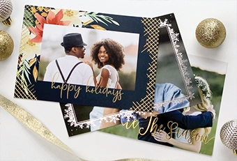 Holiday cards of couples with foil stamping