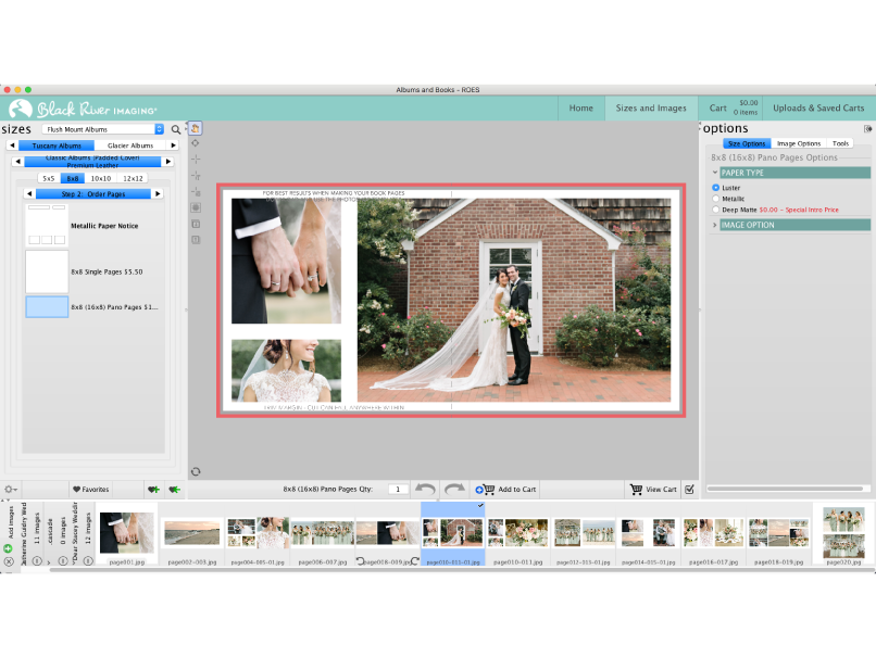 Order albums with BRI ROES software for professional photographers