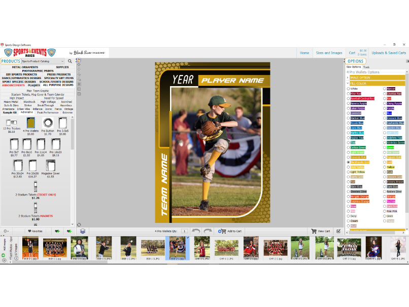 Order sports products in BRI Sports & Events ROES software for Professional Photographers
