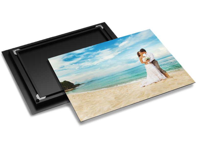 Black Exhibit Mount on Back of Metal Print of a