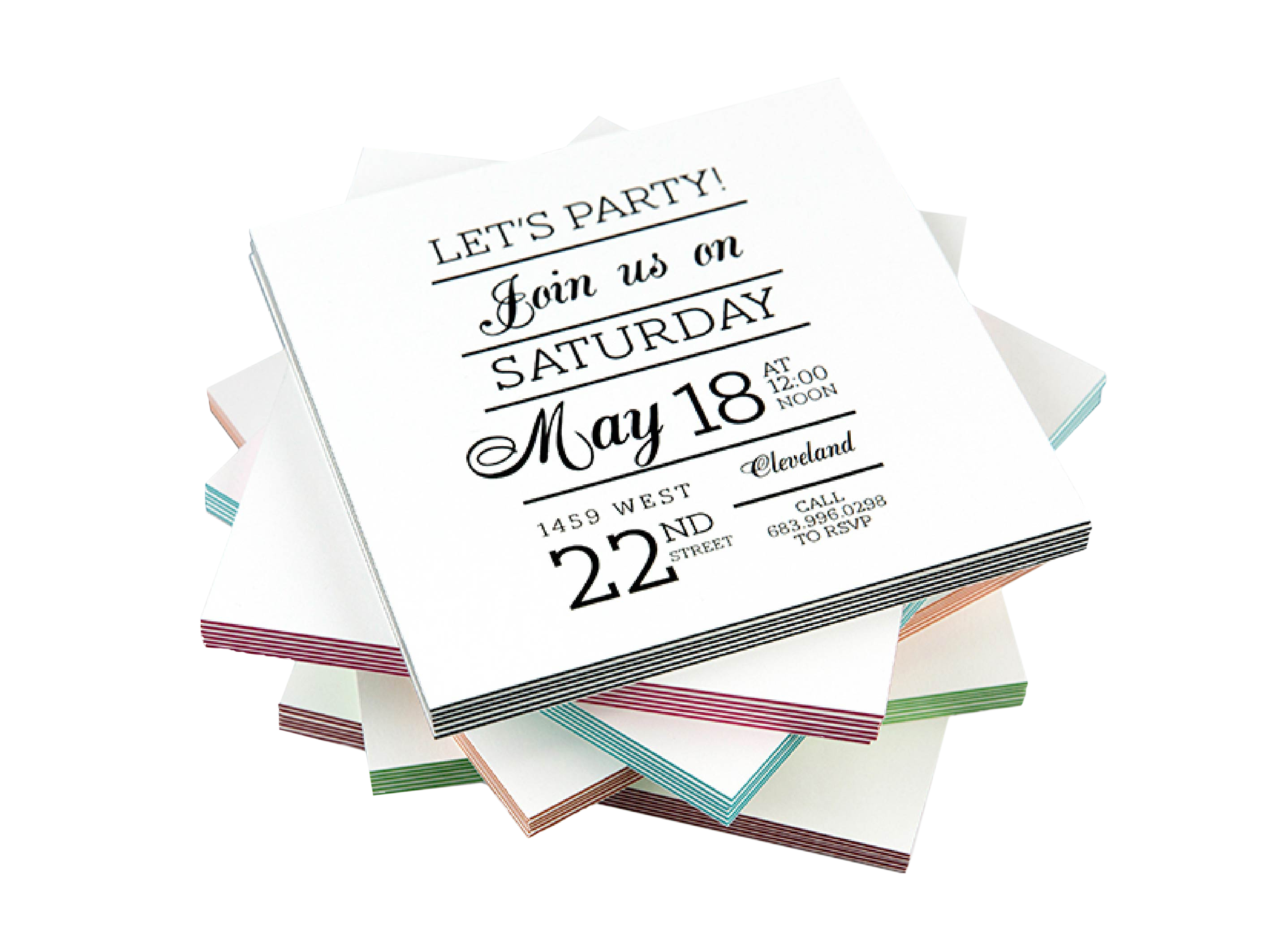 Wedding Invitation Printed on Extra Thick ColorTHICK Cards with 6 different core colors