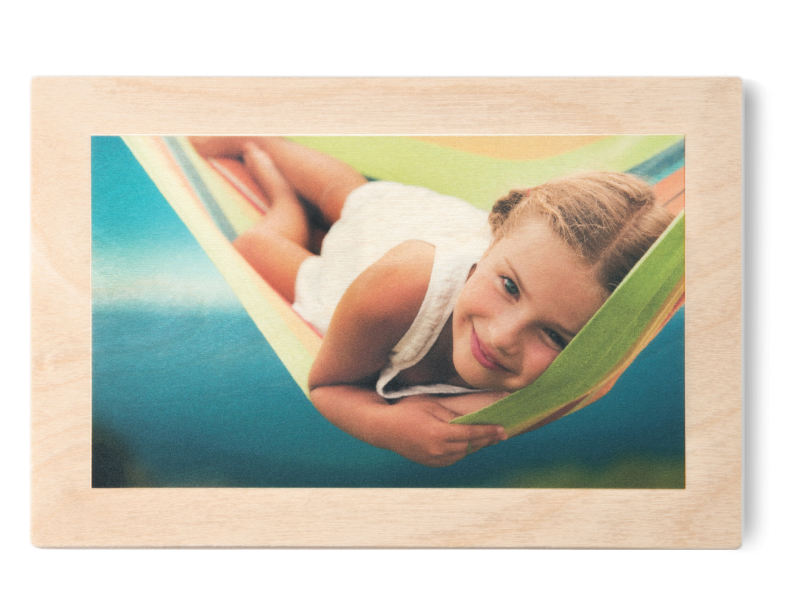 Girl in Hammock Printed with Natural Finish on Wood Print