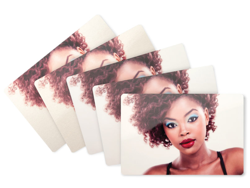 Woman with Blue Eye Shadow & Red Lipstick Printed on 5 Metal Print Surfaces