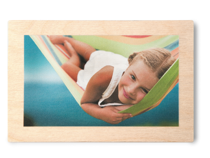Girl in Hammock Printed with White Finish on Wood Print