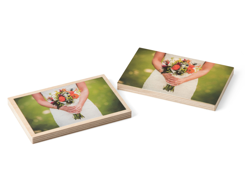 Bride Holding Bouquet Printed with & without a Border on Wood Print