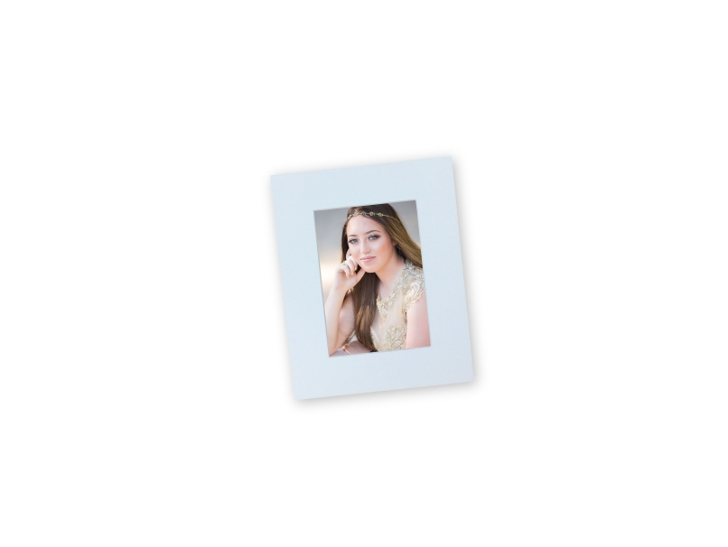 Portrait of Senior Girl with Long Brown Hair Mounted in 8x10 DIY Photo Mats