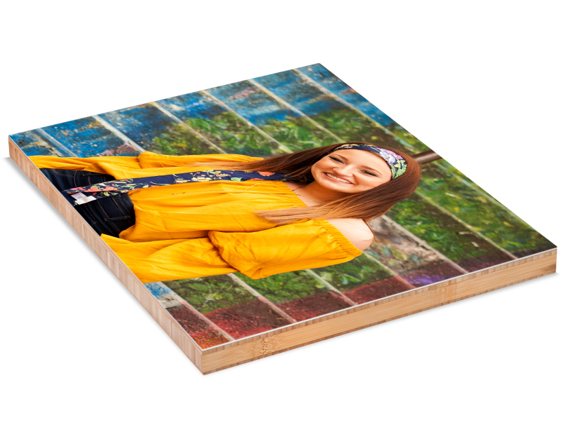 Senior Girl in Yellow Shirt Mounted on bamboo Standout Mount