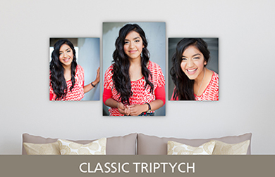 Senior Girl in Red Shirt Printed on Cluster Metal Print Classic Triptych Design