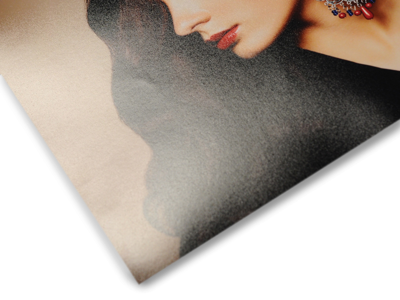 Woman with Ornate Earring Printed on Luster Paper