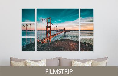 Golden Gate Bridge Printed on Split Image & Cluster Metal Print Filmstrip Design