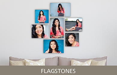 Senior Girl in Red Shirt Printed on Cluster Metal Print Flagstones Design