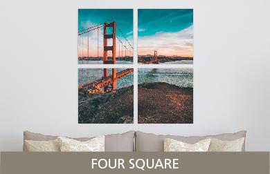 Golden Gate Bridge Printed on Split Image & Cluster Metal Print Four Square Design