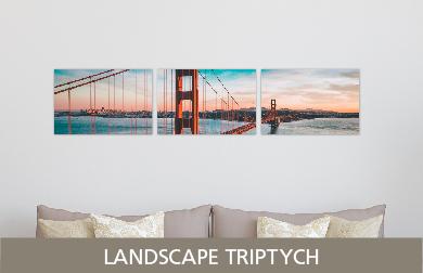 Golden Gate Bridge Printed on Split Image & Cluster Metal Print Landscape Triptych Design
