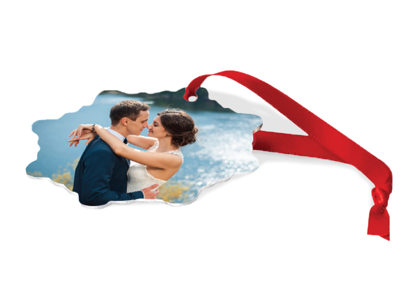 Wedding Portrait of Bride & Groom embracing by a Lake Printed on Metal Ornament with Red Ribbon