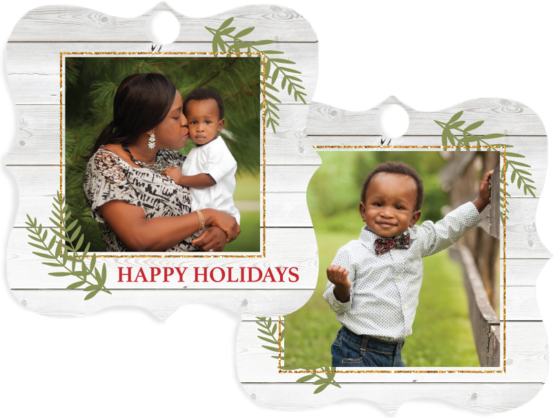 Mom & Little Boy Printed on Holiday Themed Metal Ornament - 13 Shapes