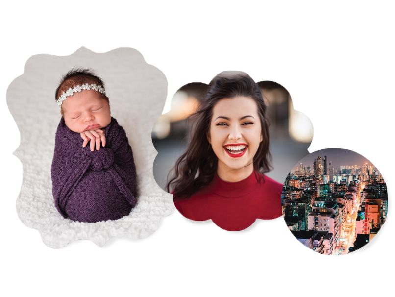 3 Sizes of Shaped Metal Prints with a cityscape, newborn & senior girl on them