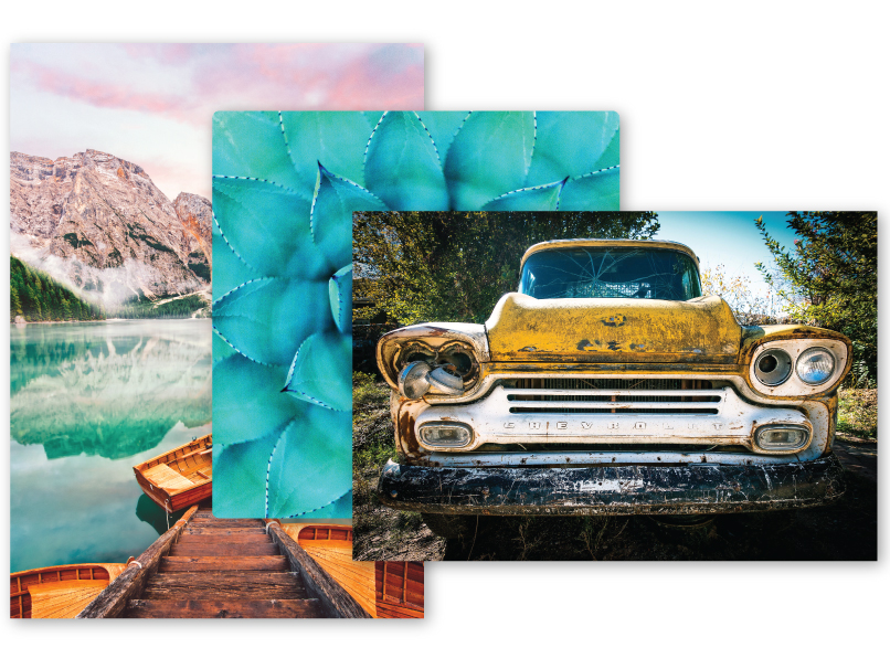 3 Sizes of Metal Prints with a car, succulent & lake scene on them