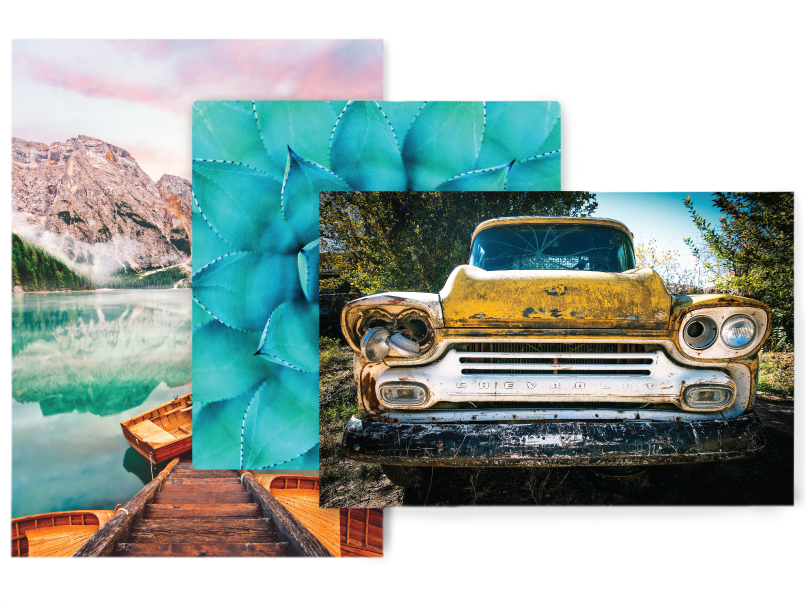 3 Sizes of Metal Prints with a car, succulent & lake