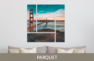 Golden Gate Bridge Printed on Split Image & Cluster Metal Print Parquet Design