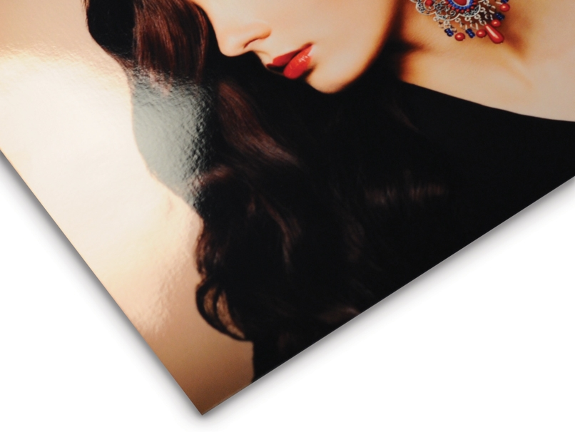 Woman with Ornate Earring Printed on Metallic Paper