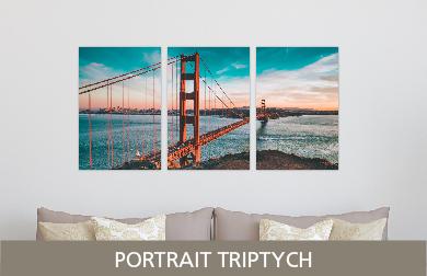 Golden Gate Bridge Printed on Split Image & Cluster Metal Print Portrait Triptych Design