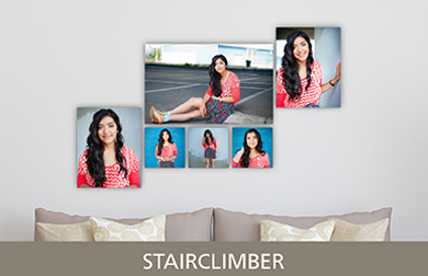 Senior Girl in Red Shirt Printed on Cluster Metal Print Stairclimber Design