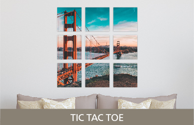 Golden Gate Bridge Printed on Split Image & Cluster Metal Print Tic Tac Toe Design