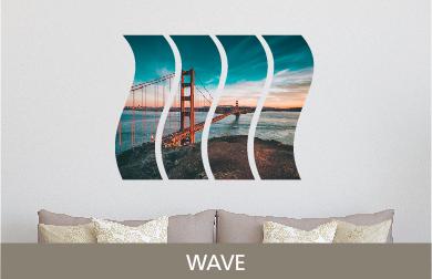 Golden Gate Bridge Printed on Split Image & Cluster Metal Print Wave Design