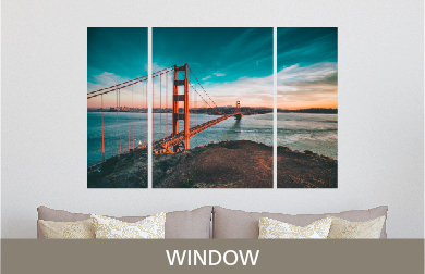 Golden Gate Bridge Printed on Split Image & Cluster Metal Print Window