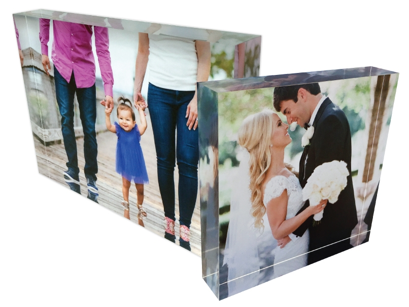 Family walking with toddler and newly married couple on different sizes for Acrylic Blocks