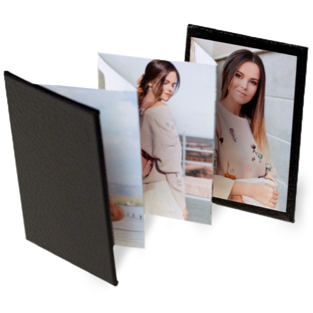 Senior Girl Portraits Printed on Accordion Memory Book with Black Faux Leather Cover
