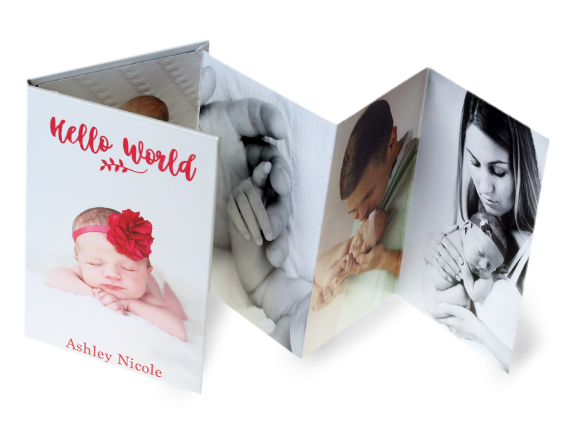Baby Girl With Large Flower Headband Printed on Accordion Mini Book