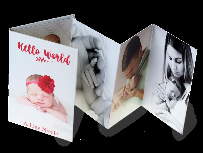 Baby Girl With Large Flower Headband Printed on Accordion Mini Book