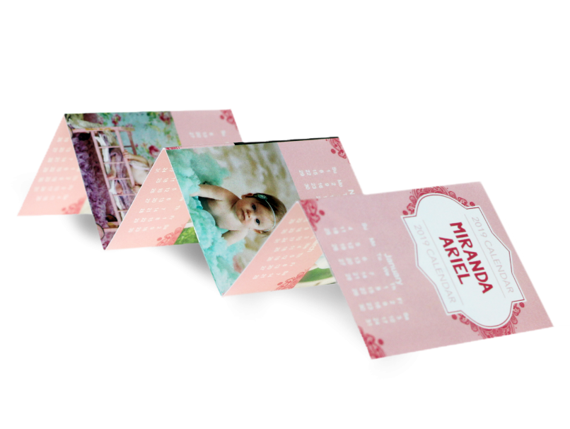 Baby and Calendar photos printed on an accordion wallet