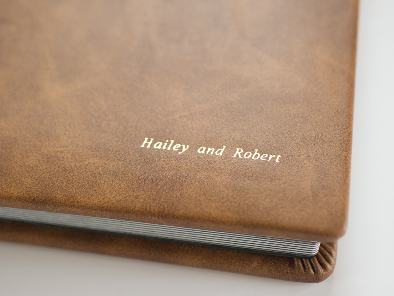 Gold Embossing on Brown Leather Cover