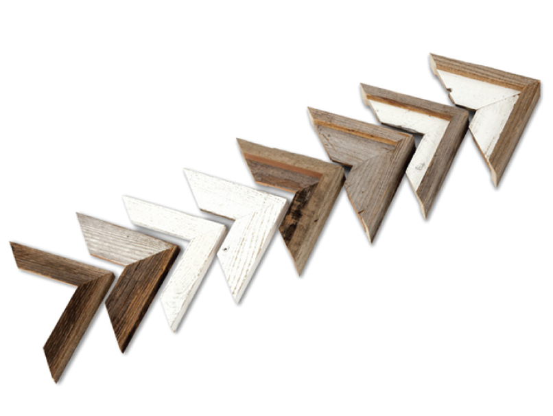 Framed Metal Print Barnwood Frame Corner Samples