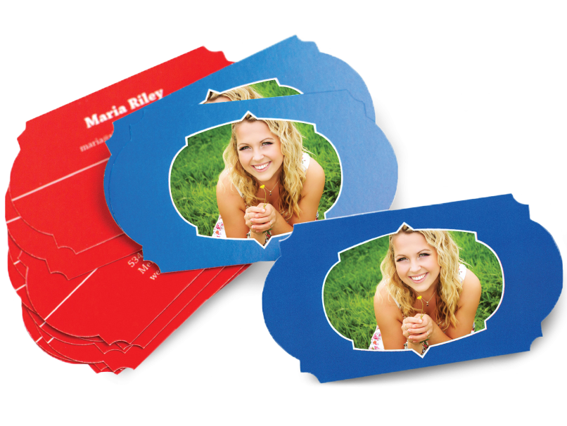 Blue & Red Photographer Shaped Business Card- 30 Shapes