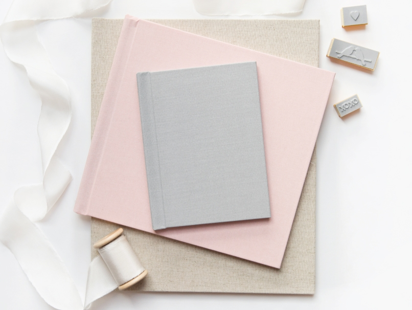 3 Book Sizes in Light Gray, Light Pink & Oatmeal