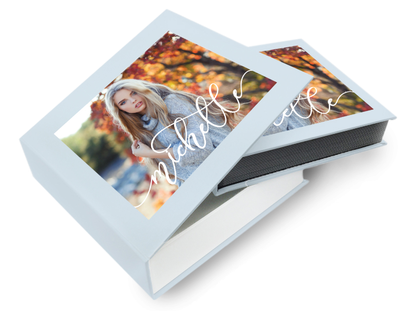 Senior Girl in Front of Fall Tree on Front of Box